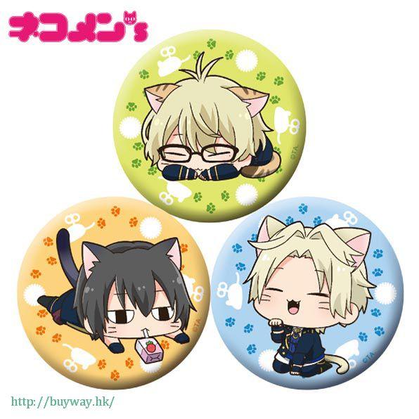 月歌。 「彌生春 + 卯月新 + 皐月葵」徽章 set 貓咪 ver. (1 套 3 款) Nekomens Can Badge 3 Set B【Tsukiuta.】