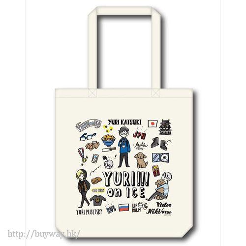 勇利!!! on ICE 「勝生勇利 + 維克托 + 尤里 + Makkachin」拼貼圖案 布袋 Canvas Tote Bag D【Yuri on Ice】