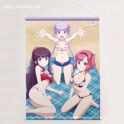 New Game! 「涼風青葉 + 瀧本日富美 + 望月紅葉」海灘 B2掛布 B2 Tapestry Suzukaze Aoba & Takimoto Hifumi & Mochizuki Momiji【New Game!】