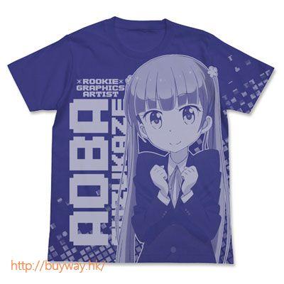 New Game! (中碼)「涼風青葉」T-Shirt 藍色 Aoba Suzukane All Print T-Shirt / NIGHT BLUE - M【New Game!】