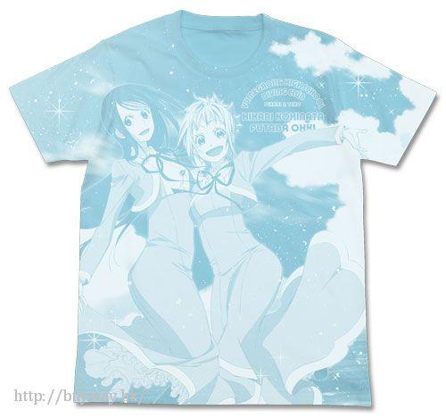 藍海少女! (大碼)「光 + 雙葉」水藍 T-Shirt Hikarai & Futaba All Print T-Shirt / AQUA BLUE - L【Amanchu!】