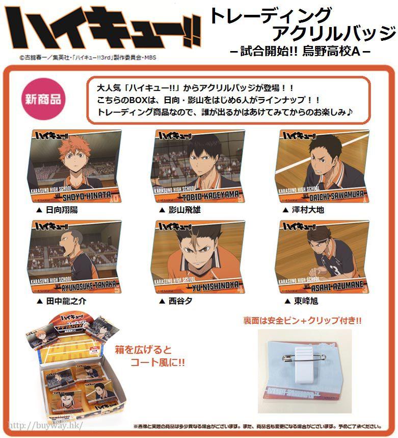 排球少年!! 「烏野高校」比賽開始!!Box A 亞克力徽章 (6 個入) Acrylic Badge -Start Game!! Karasuno High School A- (6 Pieces)【Haikyu!!】