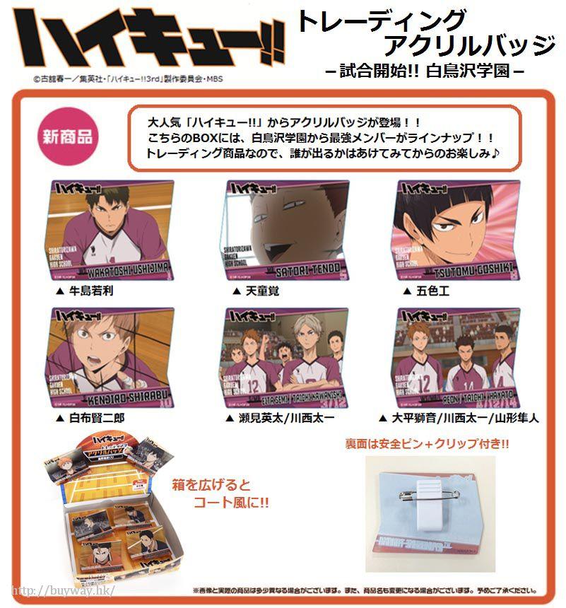 排球少年!! 「白鳥澤學園」比賽開始!!亞克力徽章 (6 個入) Acrylic Badge -Start Game!! Shiratorizawa Gakuen High School-【Haikyu!!】
