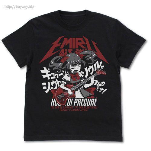 光之美少女系列 (加大)「愛崎惠美瑠」黑色 T-Shirt Kyuin to Soul ga Shout Suru Emiru no T-Shirt /BLACK-XL【Pretty Cure Series】