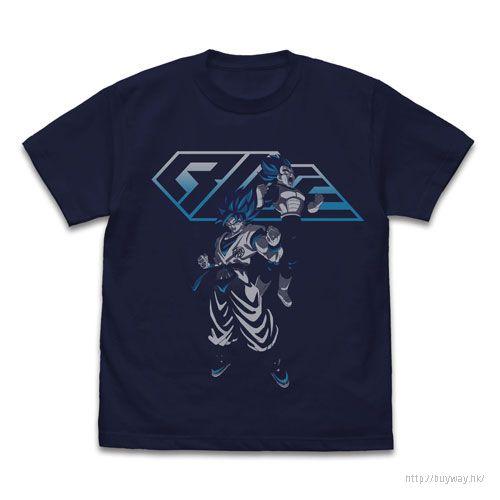 龍珠 (加大)「孫悟空 + 比達」超級撒亞人 深藍色 T-Shirt Super Broly Super Saiyan Blue Goku & Vegeta T-Shirt /NAVY-XL【Dragon Ball】