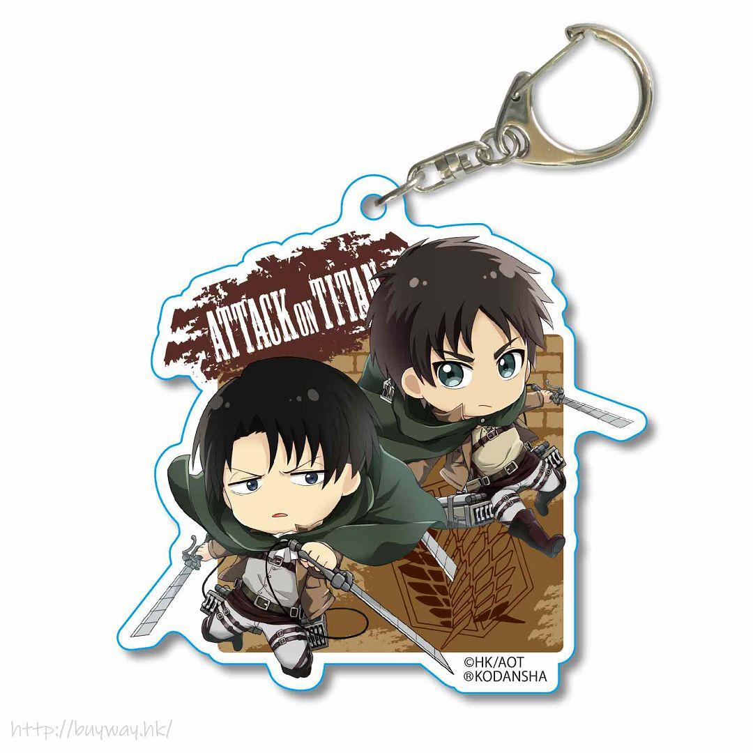 進擊的巨人 「艾倫 + 里維」立體機動 亞克力匙扣 Pukasshu Choi Deka Acrylic Key Chain Eren & Levi 3D Manever Gear【Attack on Titan】