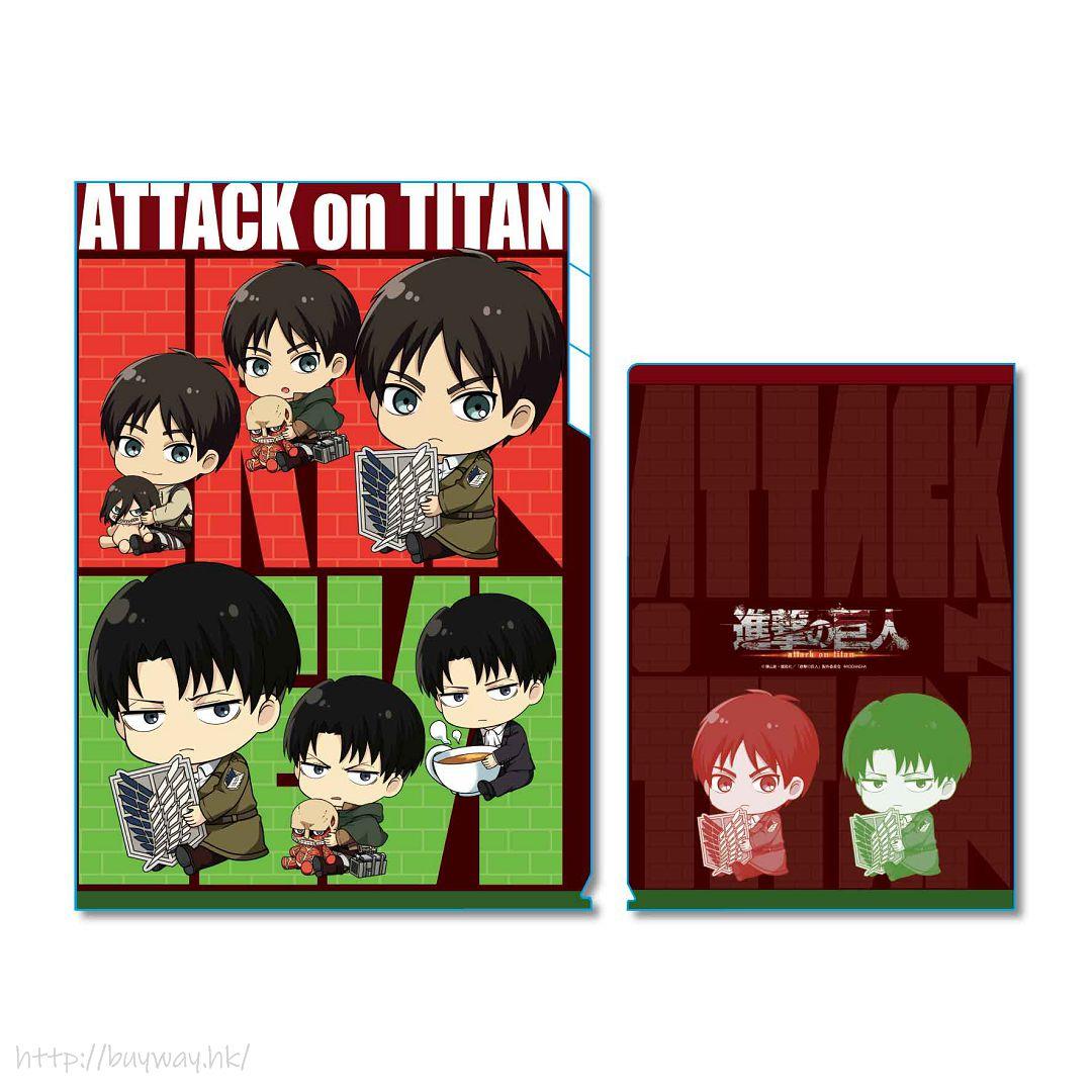 進擊的巨人 「艾倫 + 里維」A 款 3層文件套 Clear File 3 Pocket GyuGyutto【Attack on Titan】
