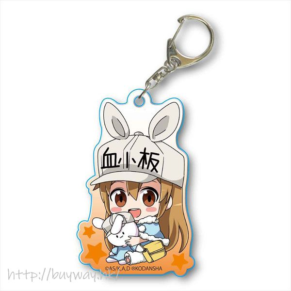 工作細胞 「血小板」小兔帽子 亞克力匙扣 GyuGyutto Acrylic Key Chain Usamimi Ver. Platelet【Cells at Work!】