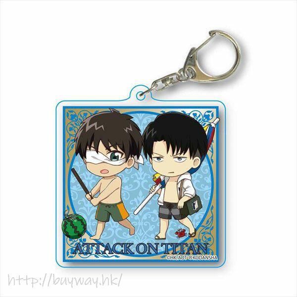 進擊的巨人 「艾倫 + 里維」水著 亞克力匙扣 TEKUTOKO Choi Deka Acrylic Key Chain Eren & Levi Swimwear【Attack on Titan】