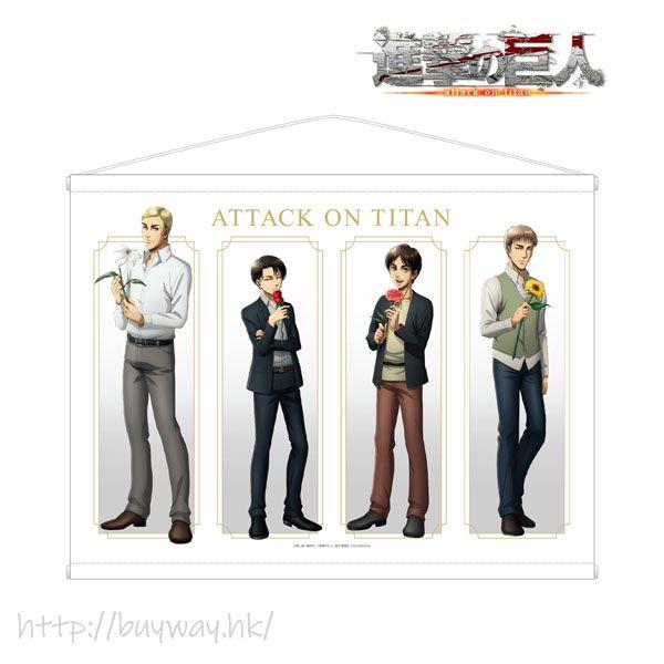 進擊的巨人 「艾倫 + 約翰 + 艾爾文 + 里維」Flower Store in 新宿 B2掛布 New Illustration Wall Scroll【Attack on Titan】