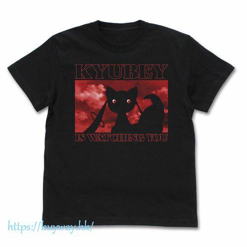 魔法少女小圓 (加大)「丘比」看著你 黑色 T-Shirt TV Anime Kyubey is Watching T-Shirt /BLACK-XL【Puella Magi Madoka Magica】
