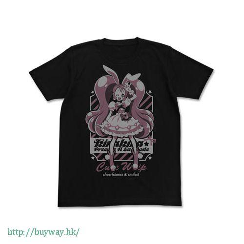 光之美少女系列 (加大)「宇佐美一花 / 奶油天使」黑色 T-Shirt Cure Whip T-Shirt / BLACK - XL【Pretty Cure Series】
