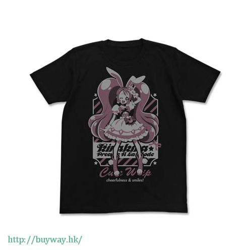 光之美少女系列 (中碼)「宇佐美一花 / 奶油天使」黑色 T-Shirt Cure Whip T-Shirt / BLACK - M【Pretty Cure Series】