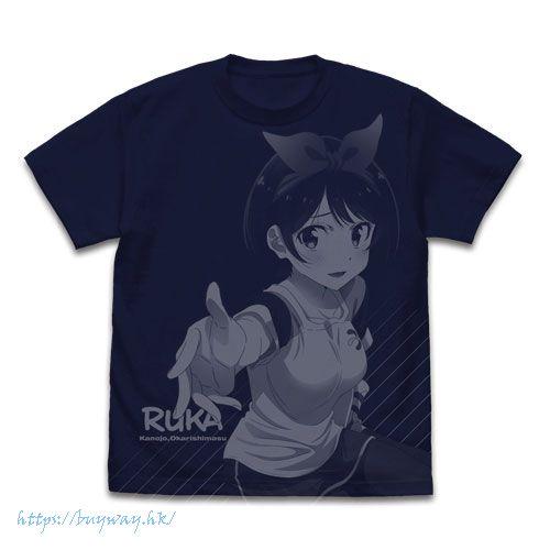 出租女友 (加大)「更科瑠夏」深藍色 T-Shirt Ruka Sarashina All Print T-Shirt /NAVY-XL【Rent-A-Girlfriend】