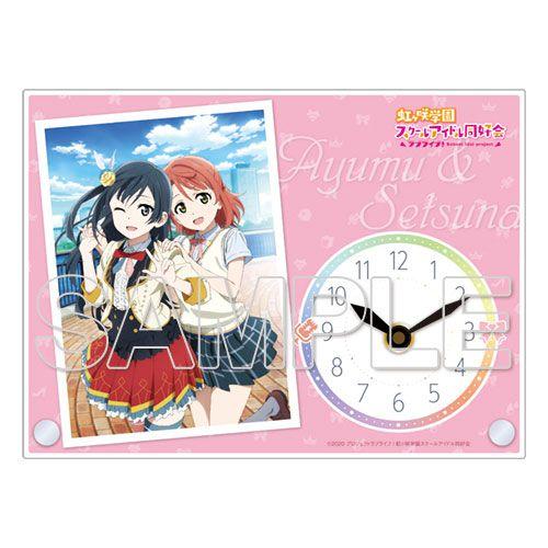 LoveLive! 虹咲學園校園偶像同好會 「上原歩夢 + 優木雪菜」亞克力座枱鐘 Ayumu Uehara & Setsuna Yuki Acrylic Clock【Love Live! Nijigasaki Academy School Idol Club】
