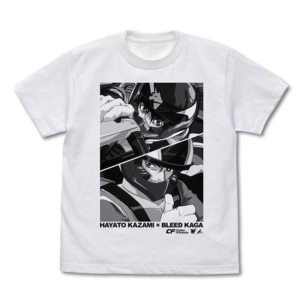高智能方程式 (加大)「風見隼人 + 加賀」白色 T-Shirt Hayato Kazami & Bleed Kaga T-Shirt /WHITE-XL【Future GPX Cyber Formula】