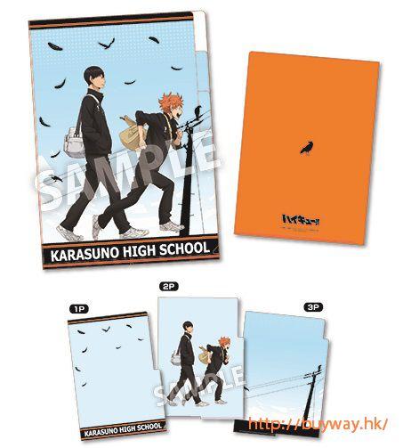 排球少年!! 「日向 + 影山」烏野 3 層文件套 3 Pocket Clear File Karasuno Attendance【Haikyu!!】