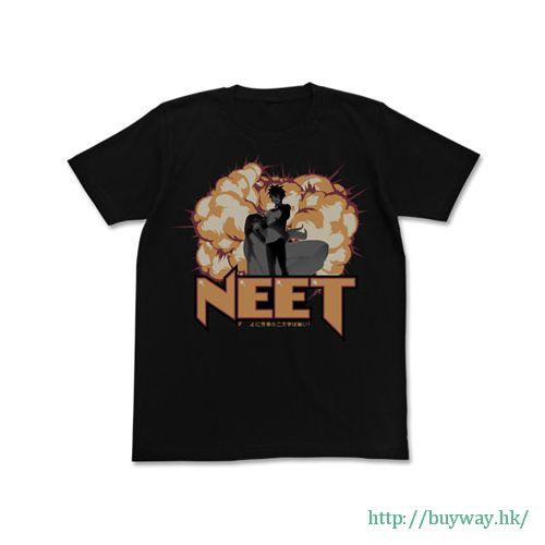 "遊戲人生 (加大)「NEET」黑色 T-Shirt """" (Kuuhaku) ni Roudou no Nimoji wa Nai! T-Shirt / BLACK-XL【No Game No Life】"